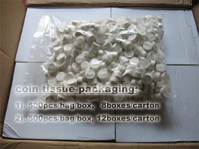 coin tissue packaging
